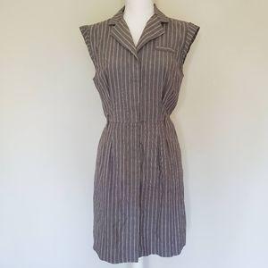 AGB Gray & White Stripe Button Down Dress